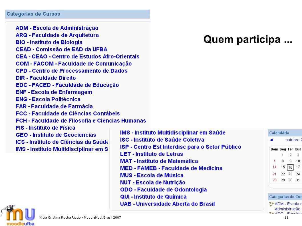 Quem participa ... Nicia Cristina Rocha Riccio - MoodleMoot Brasil 2007