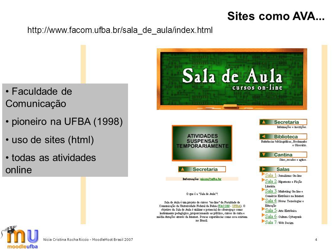 Sites como AVA... Faculdade de Comunicação pioneiro na UFBA (1998)