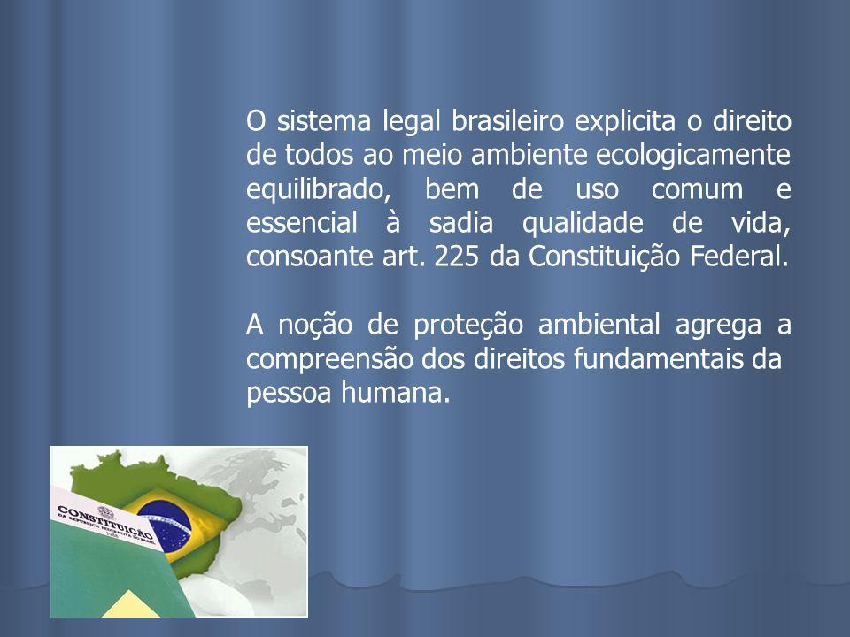 O sistema legal brasileiro explicita o direito de todos ao meio ambiente ecologicamente