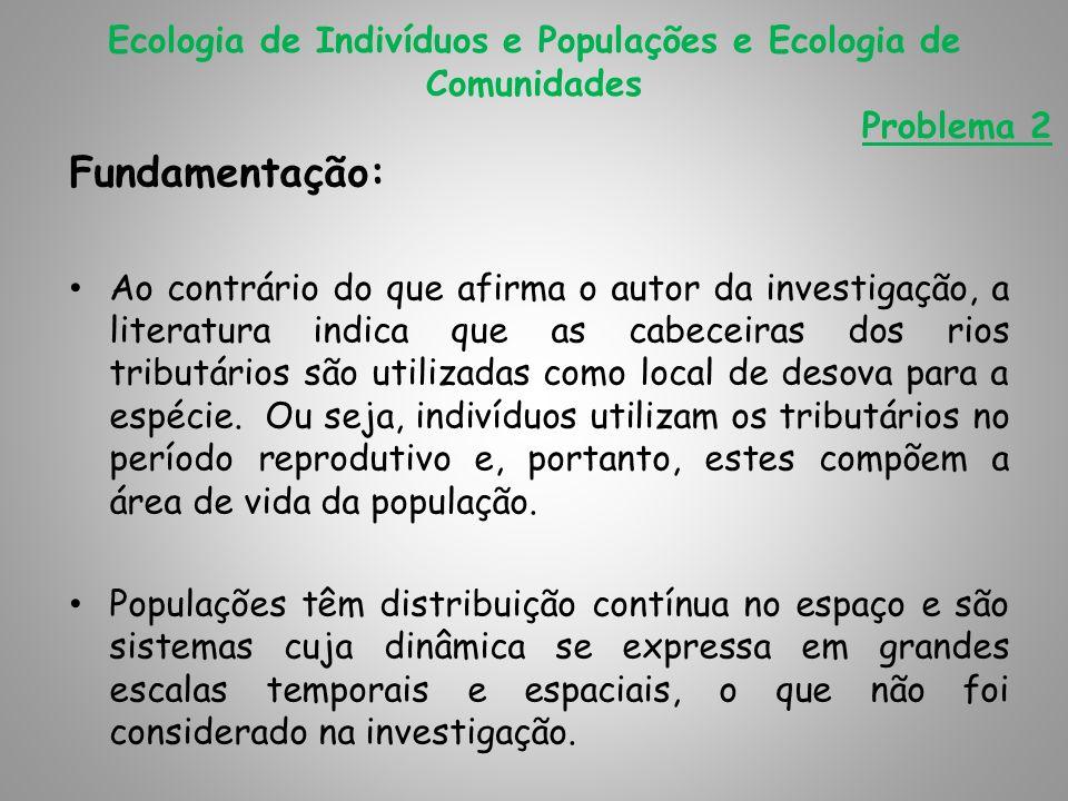 Ecologia de Indivíduos e Populações e Ecologia de Comunidades Problema 2