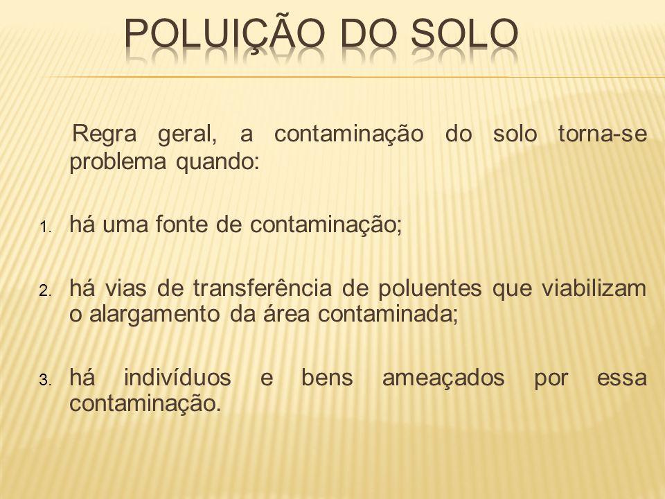 Poluição do solo Regra geral, a contaminação do solo torna-se problema quando: há uma fonte de contaminação;