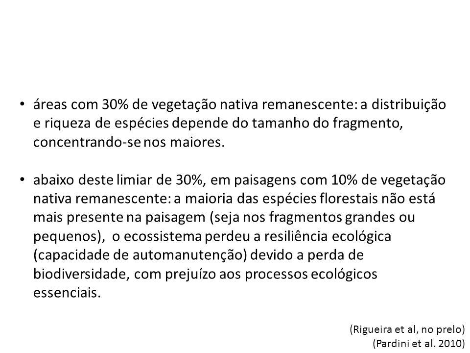 áreas com 30% de vegetação nativa remanescente: a distribuição e riqueza de espécies depende do tamanho do fragmento, concentrando-se nos maiores.