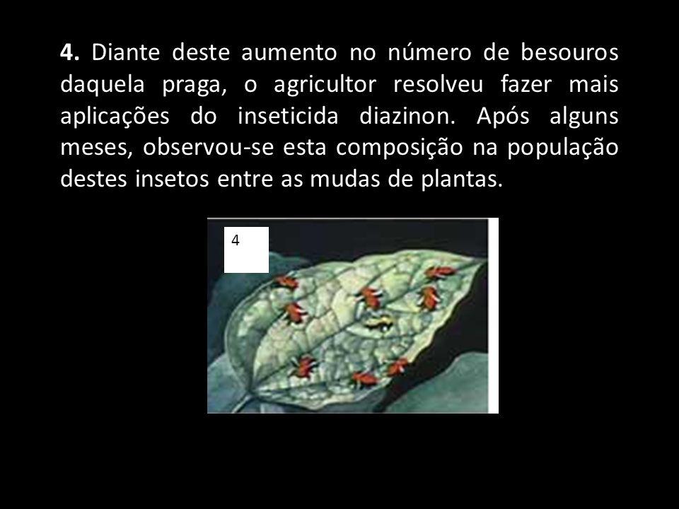 4. Diante deste aumento no número de besouros daquela praga, o agricultor resolveu fazer mais aplicações do inseticida diazinon. Após alguns meses, observou-se esta composição na população destes insetos entre as mudas de plantas.