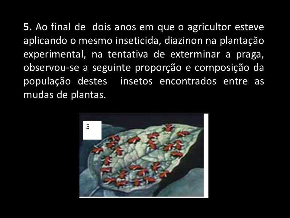 5. Ao final de dois anos em que o agricultor esteve aplicando o mesmo inseticida, diazinon na plantação experimental, na tentativa de exterminar a praga, observou-se a seguinte proporção e composição da população destes insetos encontrados entre as mudas de plantas.