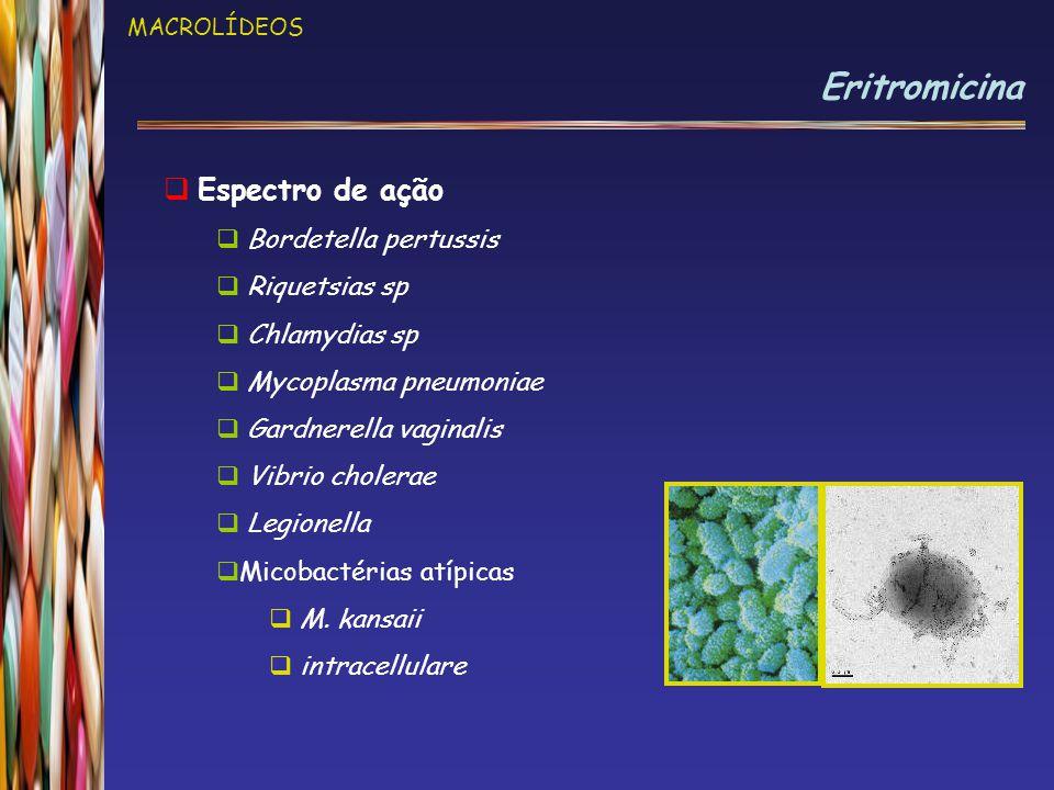 Eritromicina Espectro de ação Bordetella pertussis Riquetsias sp