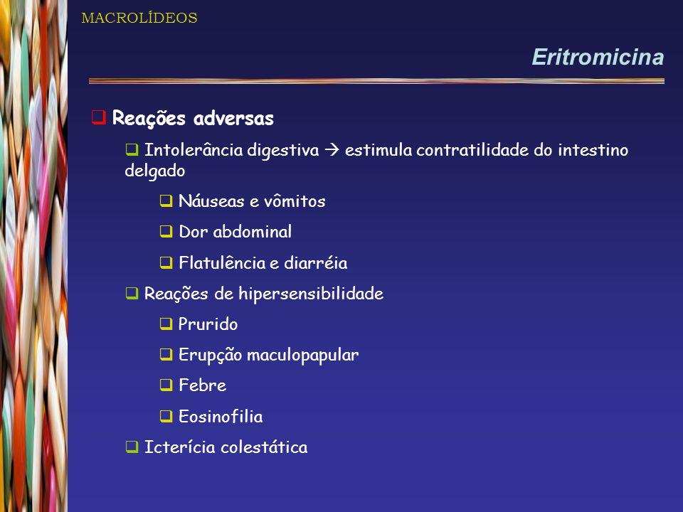 Eritromicina Reações adversas