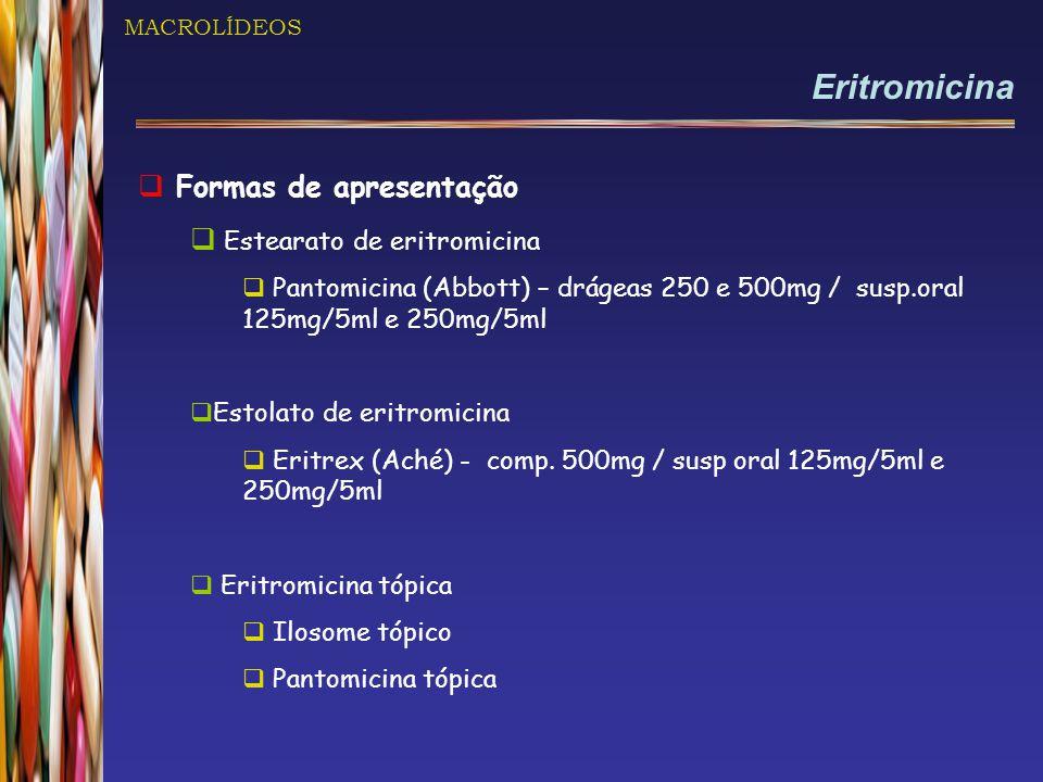 Eritromicina Formas de apresentação Estearato de eritromicina