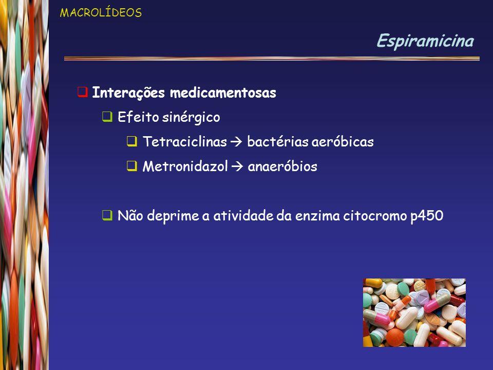 Espiramicina Interações medicamentosas Efeito sinérgico