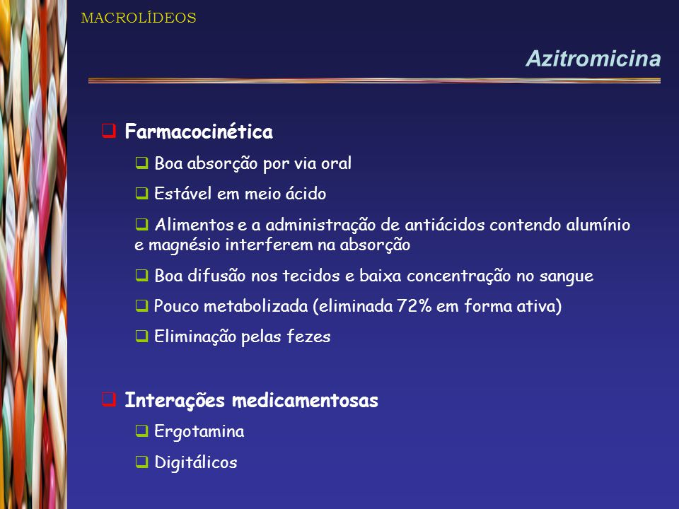 Azitromicina Farmacocinética Interações medicamentosas