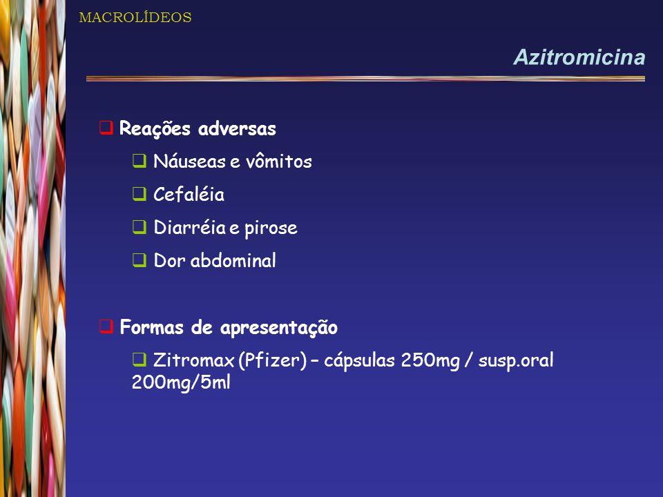 Azitromicina Reações adversas Náuseas e vômitos Cefaléia