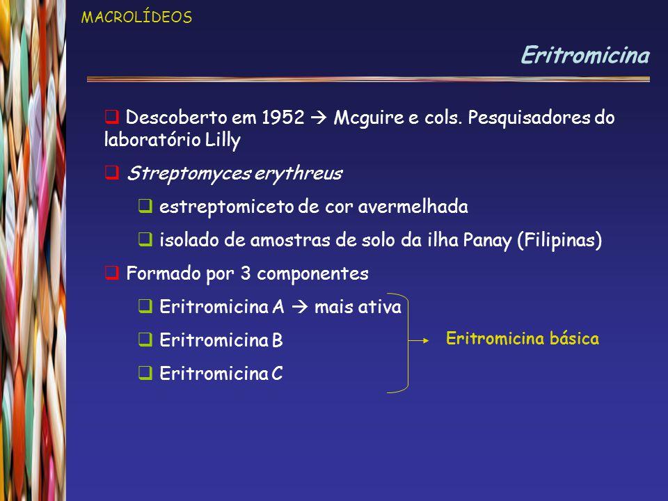 MACROLÍDEOS Eritromicina. Descoberto em 1952  Mcguire e cols. Pesquisadores do laboratório Lilly.