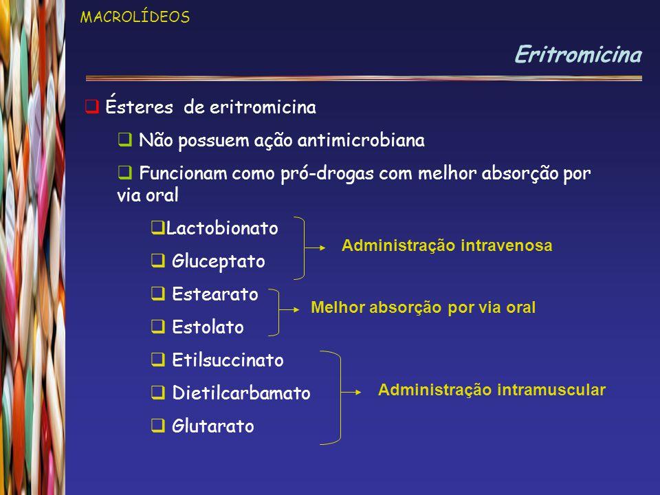 Eritromicina Ésteres de eritromicina Não possuem ação antimicrobiana