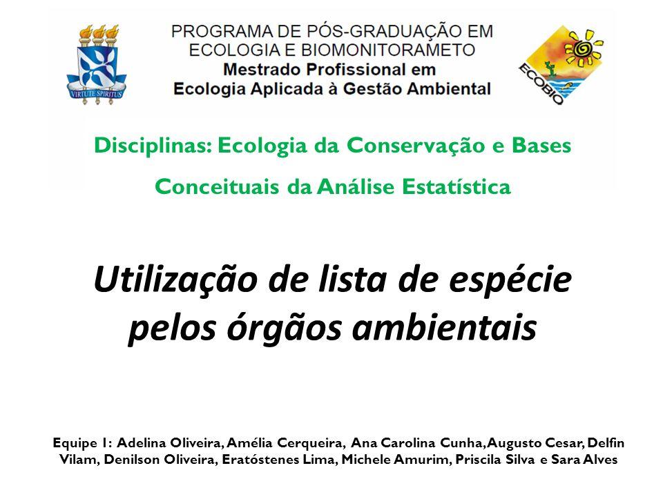 Utilização de lista de espécie pelos órgãos ambientais