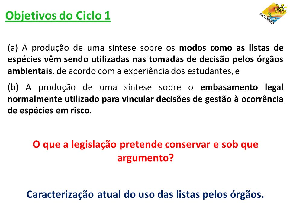 Objetivos do Ciclo 1
