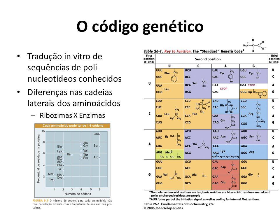 O código genético Tradução in vitro de sequências de poli-nucleotídeos conhecidos. Diferenças nas cadeias laterais dos aminoácidos.