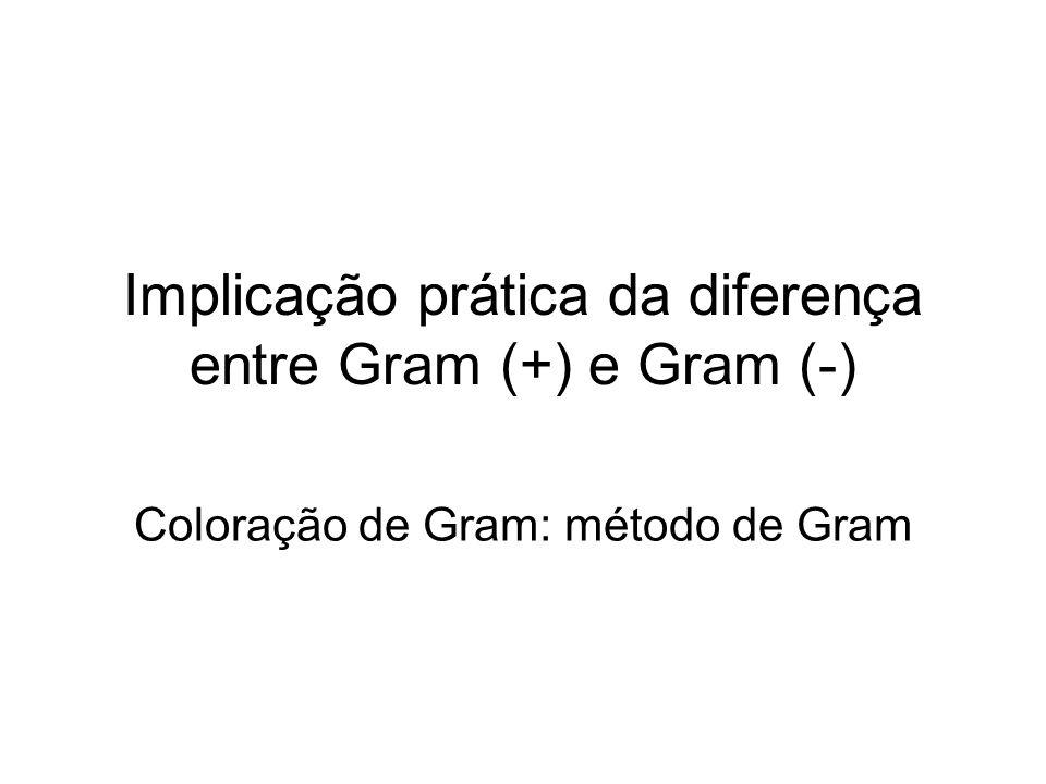 Implicação prática da diferença entre Gram (+) e Gram (-)
