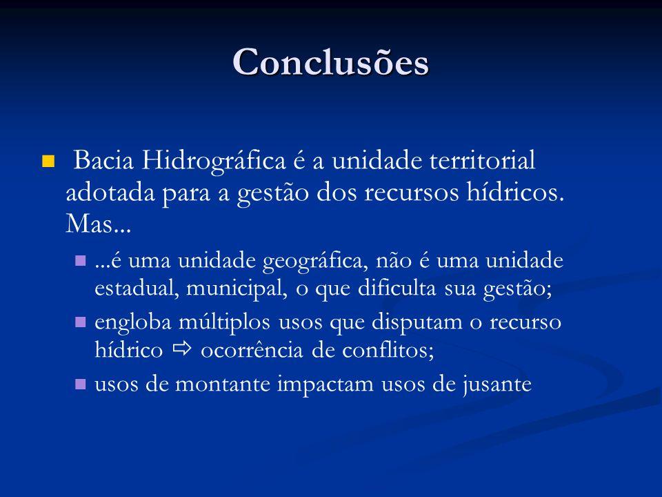 Conclusões Bacia Hidrográfica é a unidade territorial adotada para a gestão dos recursos hídricos. Mas...