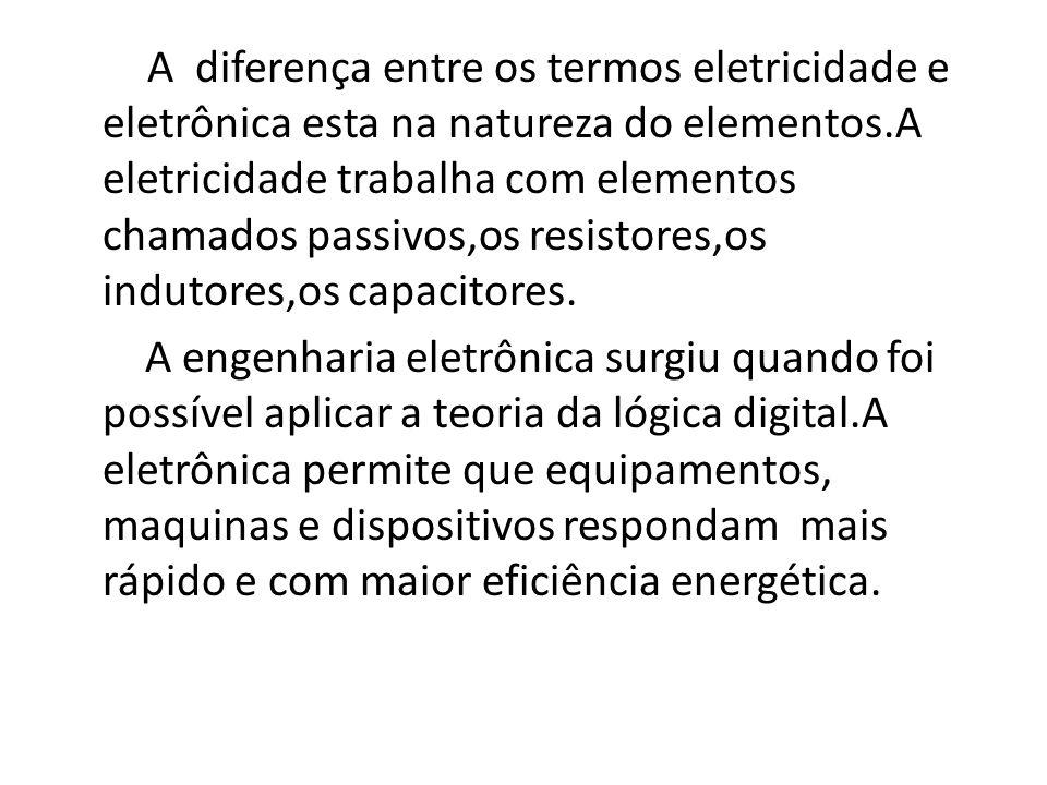 A diferença entre os termos eletricidade e eletrônica esta na natureza do elementos.A eletricidade trabalha com elementos chamados passivos,os resistores,os indutores,os capacitores.