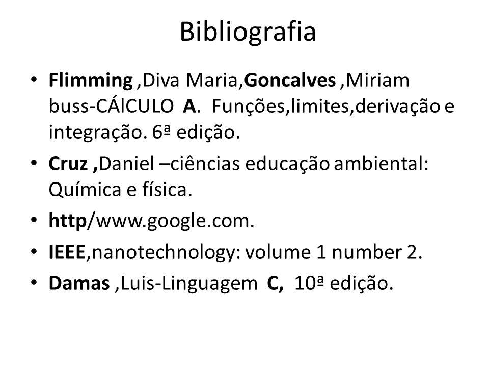 BibliografiaFlimming ,Diva Maria,Goncalves ,Miriam buss-CÁlCULO A. Funções,limites,derivação e integração. 6ª edição.