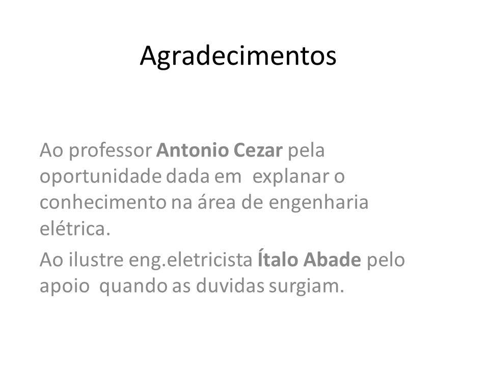Agradecimentos Ao professor Antonio Cezar pela oportunidade dada em explanar o conhecimento na área de engenharia elétrica.