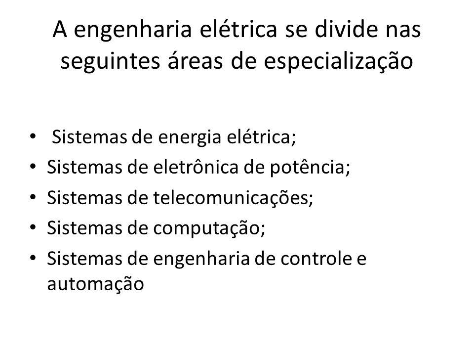 A engenharia elétrica se divide nas seguintes áreas de especialização
