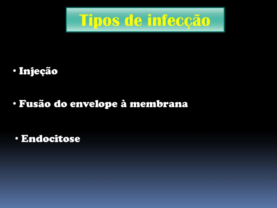 Tipos de infecção Injeção Fusão do envelope à membrana Endocitose