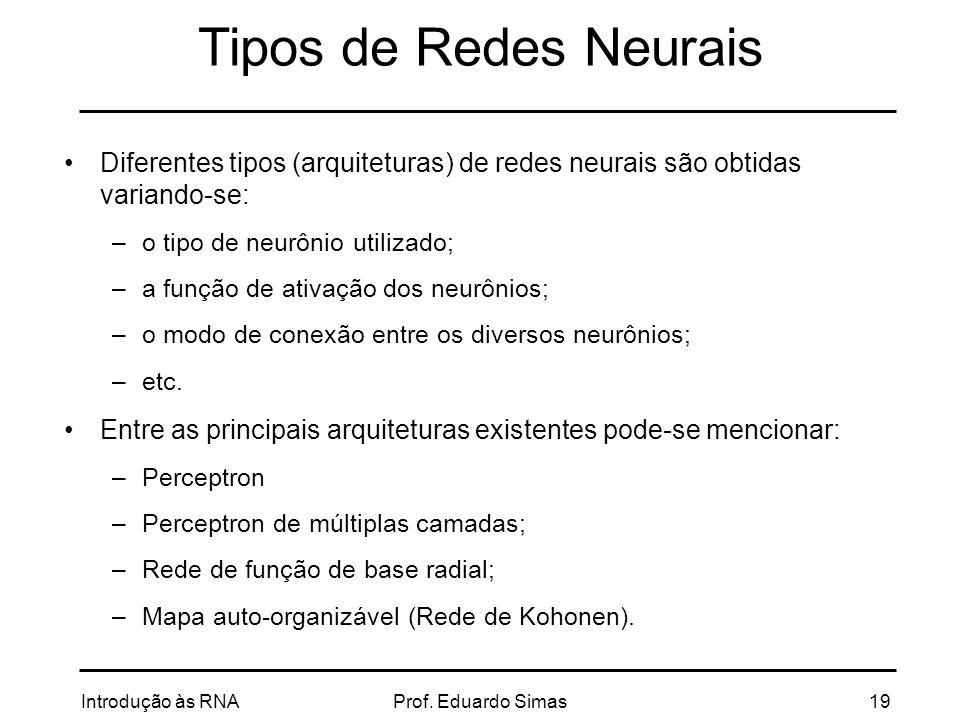 Tipos de Redes Neurais Diferentes tipos (arquiteturas) de redes neurais são obtidas variando-se: o tipo de neurônio utilizado;