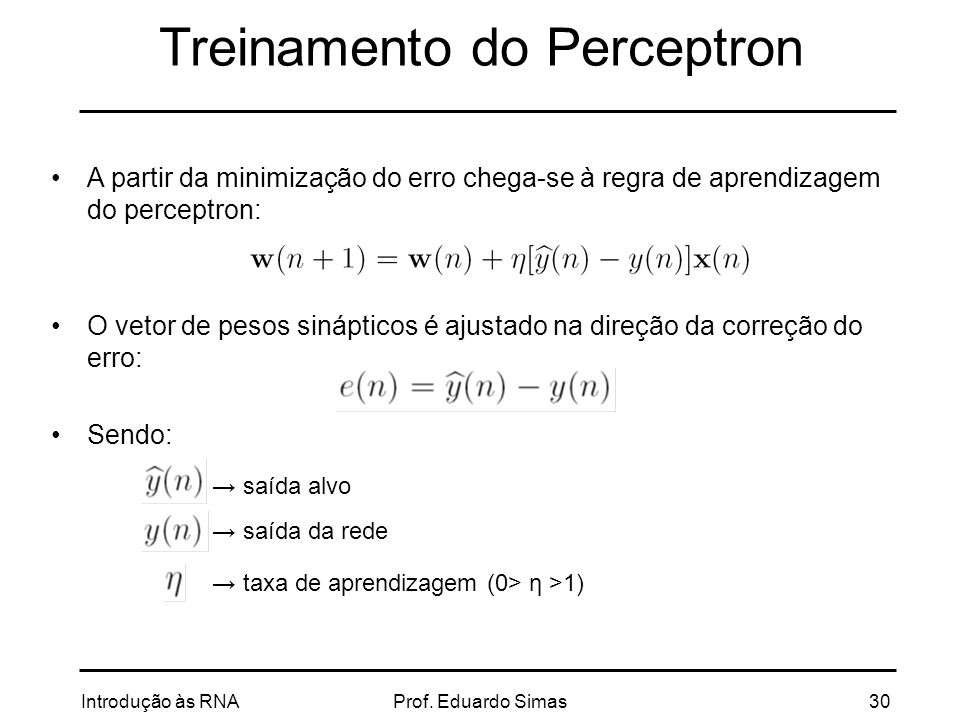 Treinamento do Perceptron