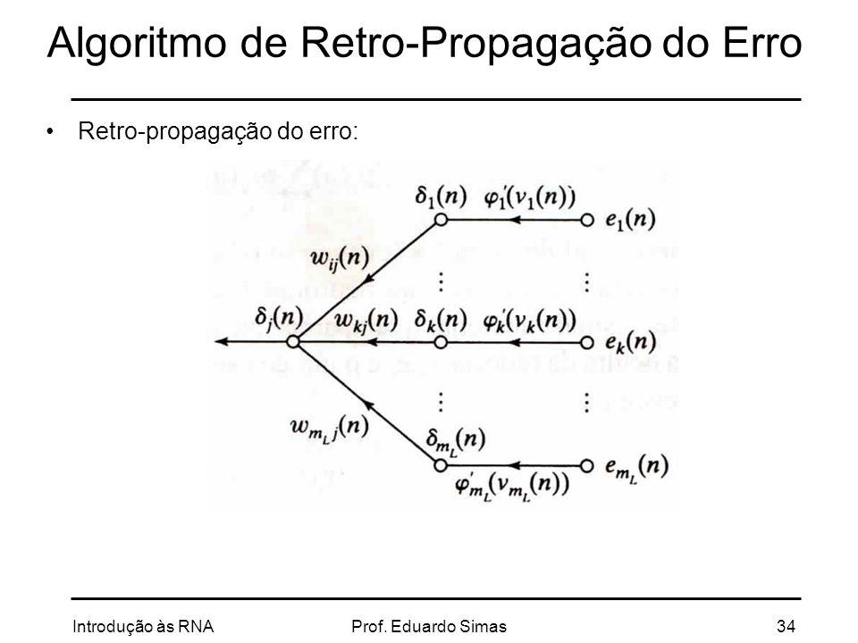 Algoritmo de Retro-Propagação do Erro