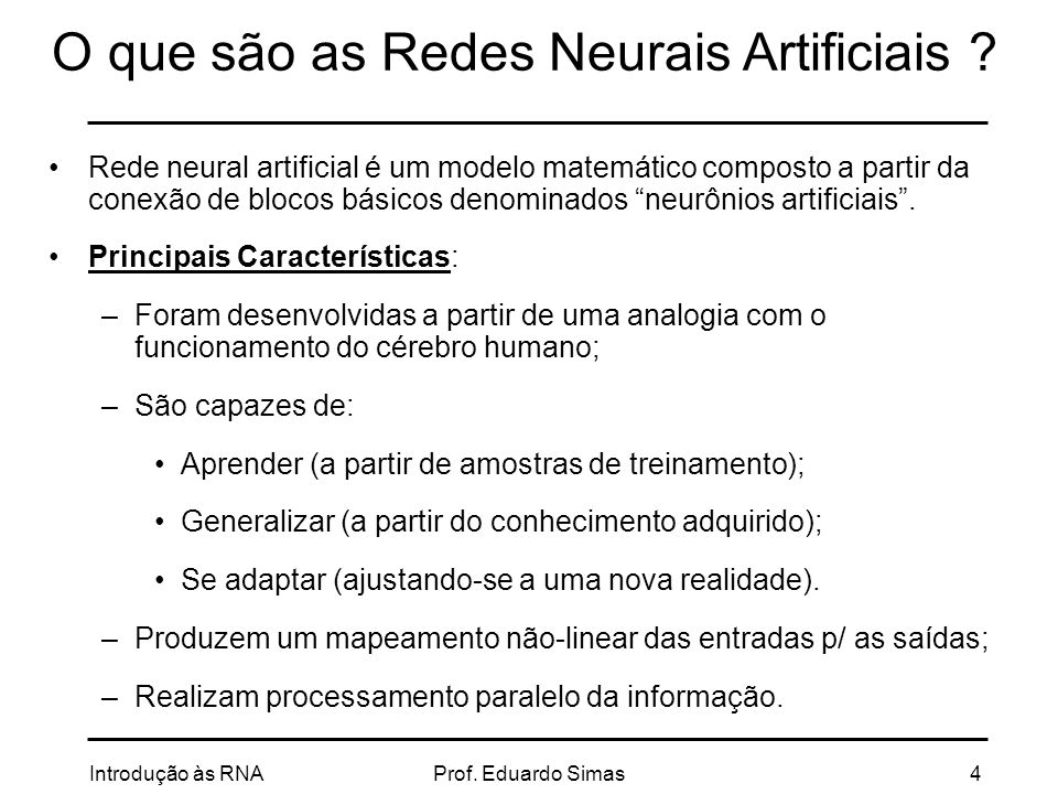 O que são as Redes Neurais Artificiais
