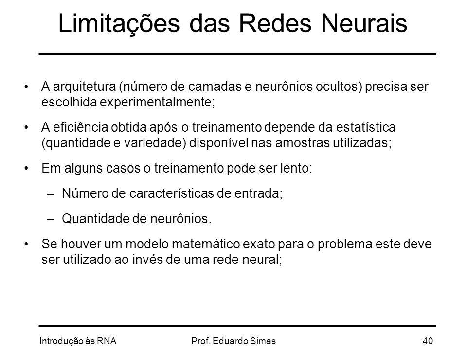 Limitações das Redes Neurais