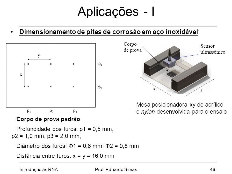 Aplicações - I Dimensionamento de pites de corrosão em aço inoxidável: