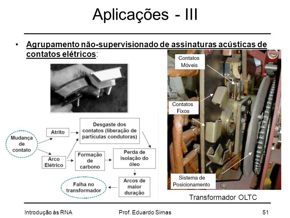 Aplicações - III Agrupamento não-supervisionado de assinaturas acústicas de contatos elétricos: Transformador OLTC.