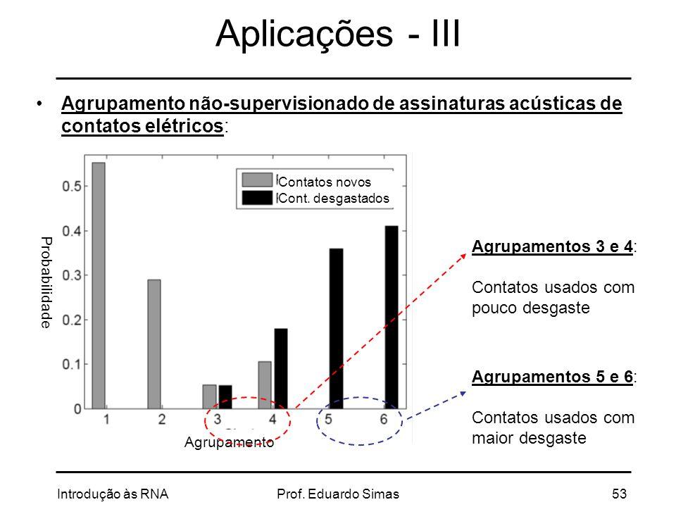 Aplicações - III Agrupamento não-supervisionado de assinaturas acústicas de contatos elétricos: Contatos novos.