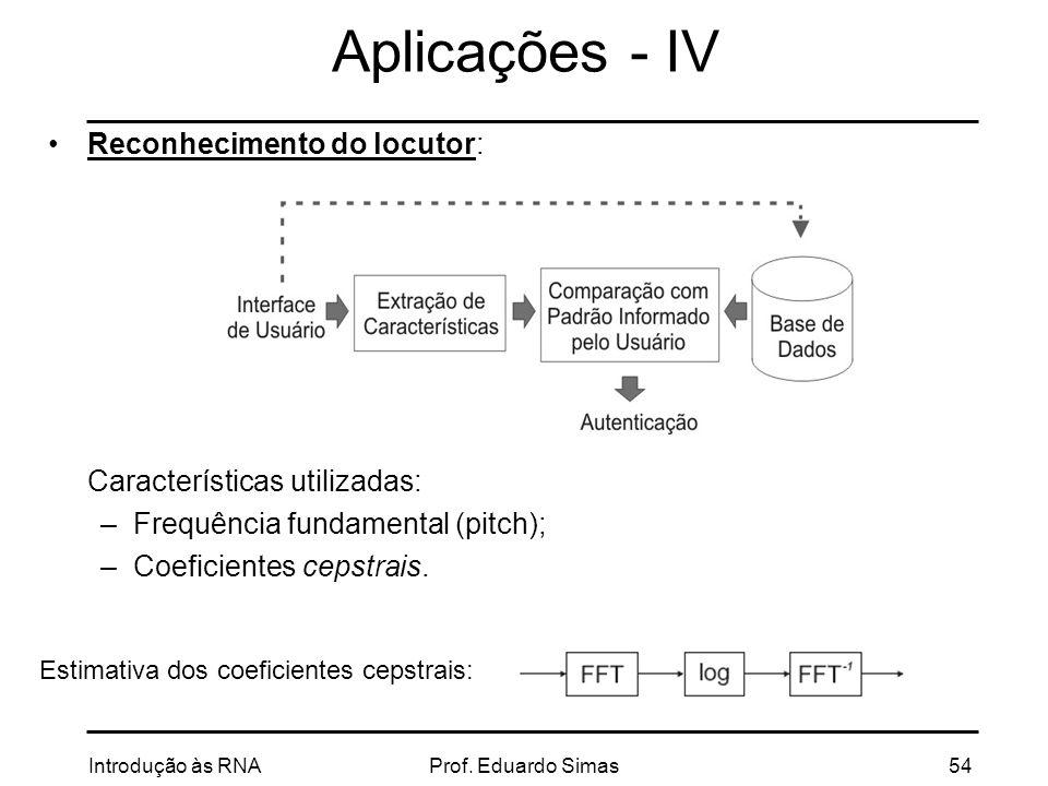 Aplicações - IV Reconhecimento do locutor: Características utilizadas: