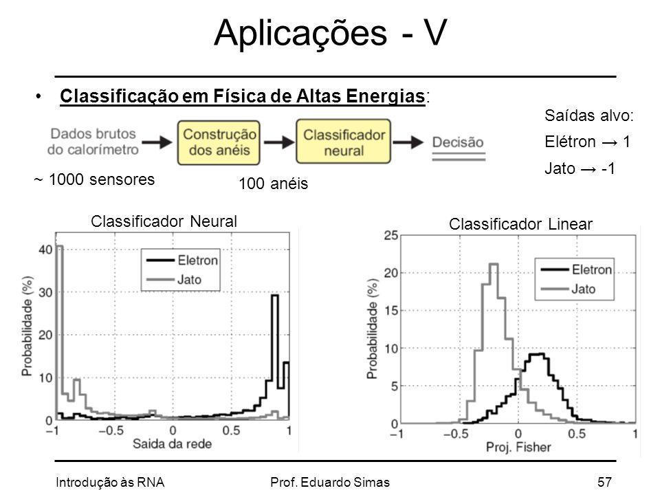 Aplicações - V Classificação em Física de Altas Energias: Saídas alvo: