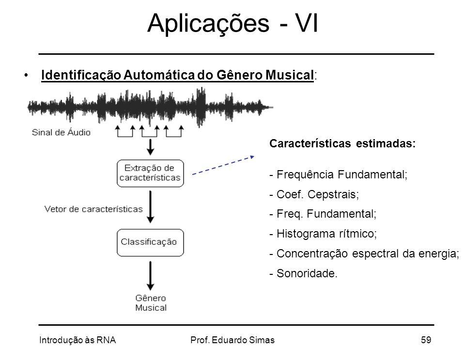 Aplicações - VI Identificação Automática do Gênero Musical:
