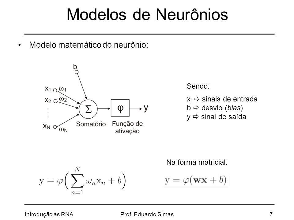 Modelos de Neurônios Modelo matemático do neurônio: Sendo: