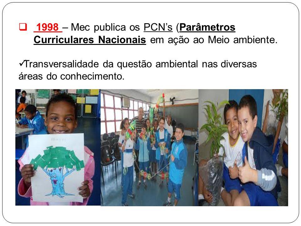 1998 – Mec publica os PCN's (Parâmetros Curriculares Nacionais em ação ao Meio ambiente.