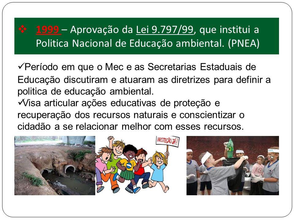 1999 – Aprovação da Lei 9.797/99, que institui a Politica Nacional de Educação ambiental. (PNEA)