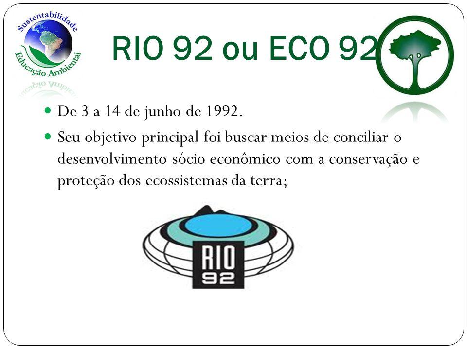 RIO 92 ou ECO 92 De 3 a 14 de junho de 1992.