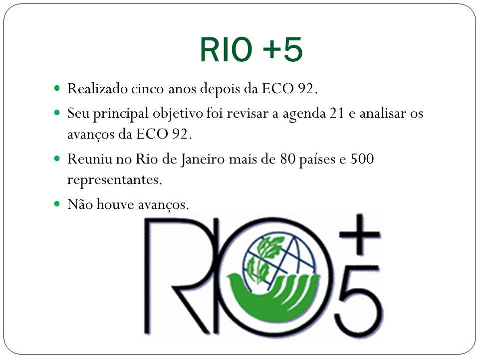 RIO +5 Realizado cinco anos depois da ECO 92.