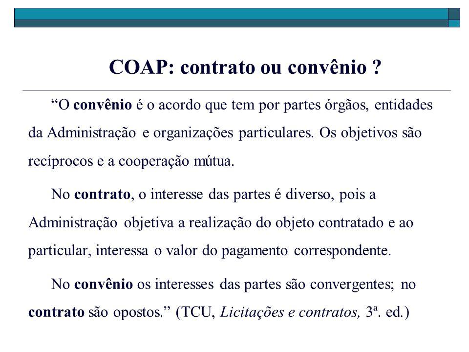 COAP: contrato ou convênio