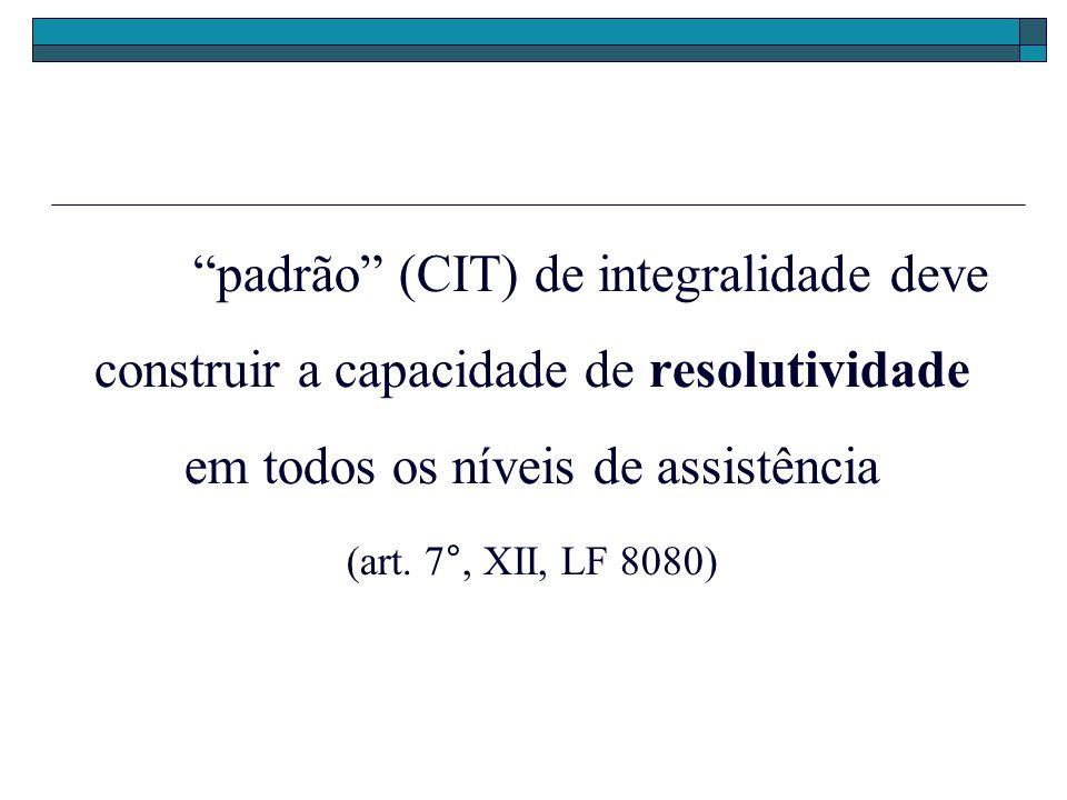 padrão (CIT) de integralidade deve construir a capacidade de resolutividade em todos os níveis de assistência