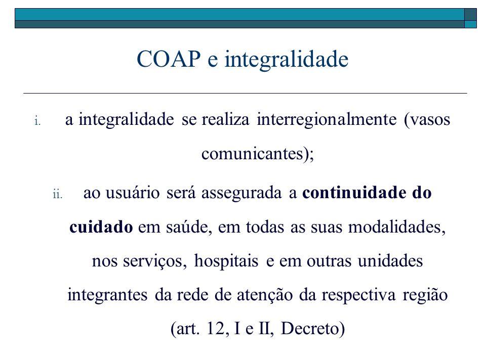a integralidade se realiza interregionalmente (vasos comunicantes);