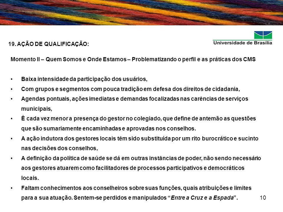 19. AÇÃO DE QUALIFICAÇÃO: Momento II – Quem Somos e Onde Estamos – Problematizando o perfil e as práticas dos CMS.