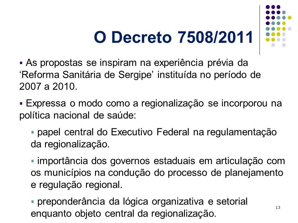 O Decreto 7508/2011As propostas se inspiram na experiência prévia da 'Reforma Sanitária de Sergipe' instituída no período de 2007 a 2010.