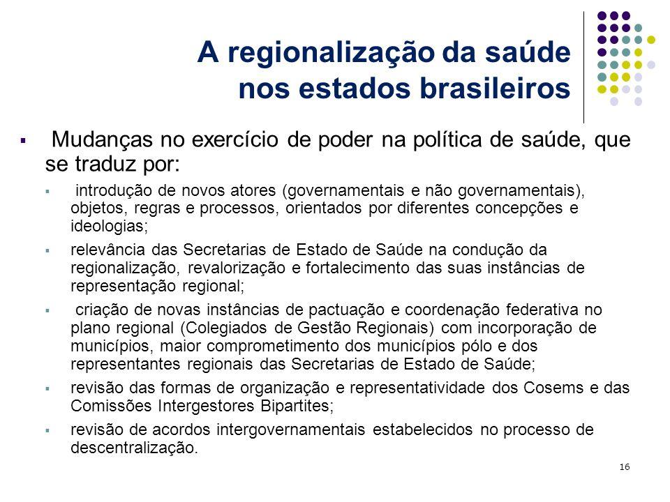 A regionalização da saúde nos estados brasileiros