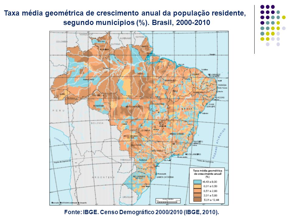 Fonte: IBGE. Censo Demográfico 2000/2010 (IBGE, 2010).