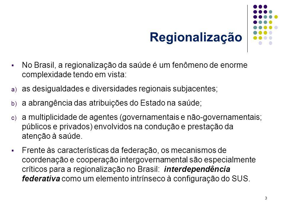 RegionalizaçãoNo Brasil, a regionalização da saúde é um fenômeno de enorme complexidade tendo em vista: